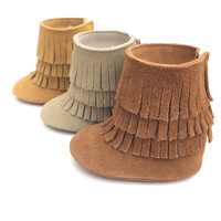 Top Quality Genuine Leather Double Fringe Suede Baby Fashion Booties Baby Moccasins Boot Tassels Toddler Shoes