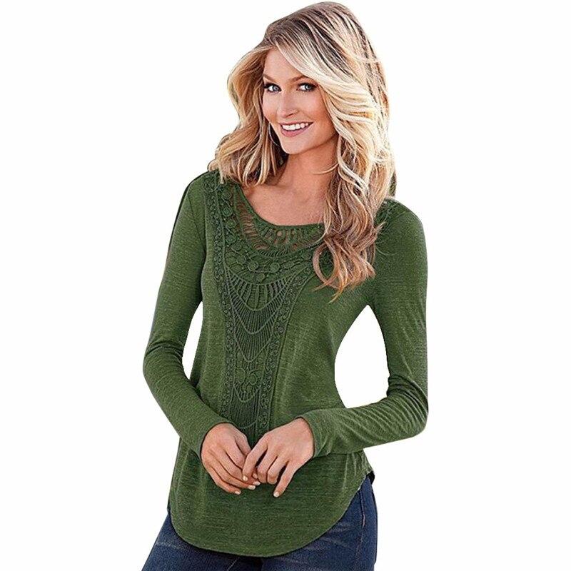 #3533 Women Loose Long Sleeve Tops Blouse Shirt Casual Hollow Crochet Shirt