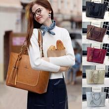 Trend Brand 6 colors PU Leather Women Handbag Casual Tassel Women Shoulder Bag  Lady Large Tote Bag Female Designer Purses