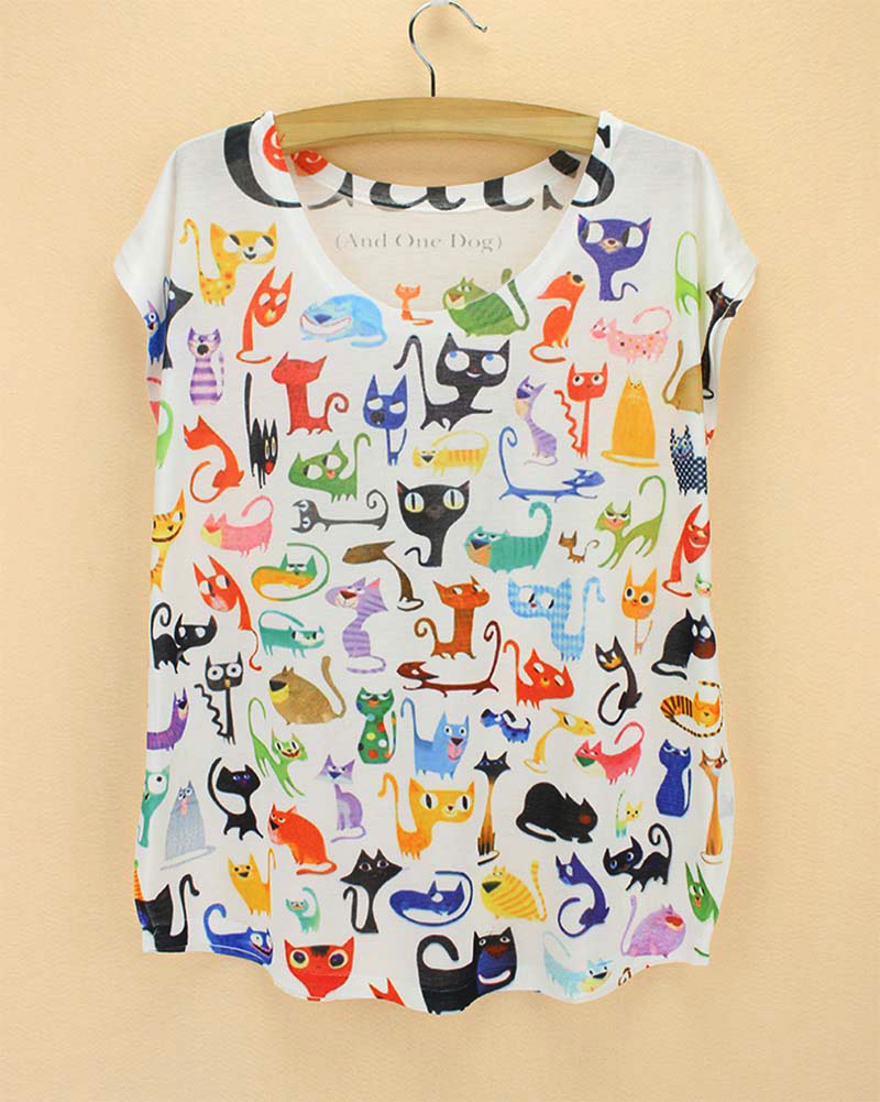 Doodle cats print tshirt ladies novelty pattern t shirts for Pattern shirts for women