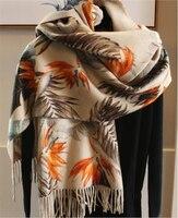high grade 100%goat cashmere thick woven women boutique printed scarfs shawl pashmina large size 65x195cm