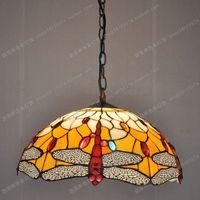 무료 배송 35 cm 유럽 복고풍 빨간색 잠자리 티파니 유리 샹들리에 테이블 램프 카페 주방 일 룸 조명 hanglampen