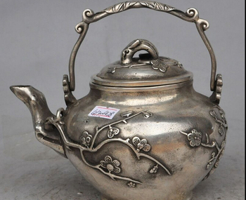 """decoration bronze factory outlets Tibet Silver  7""""Marked old Chinese Dynasty Silver Auspicious Plum Blossom Wine TeaPot Flagon"""