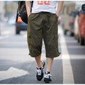 2017 Summer Cargo Pants Men's Loose Leisure Seven Pants Cotton Elastic Waist Man Cropped Trousers Fashion Menswear Big Size XXXL