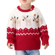Winter Warm Baby Sweater Infant Boy Girl Christmas Elk Pullover Long Sleeve Forborn Toddler Clothes