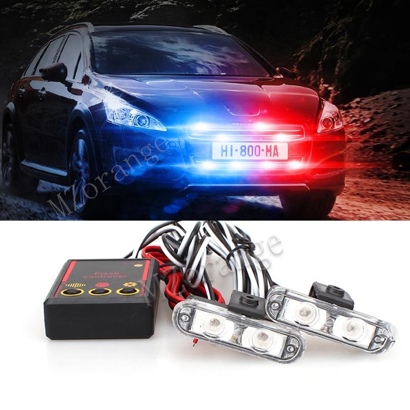 High Bright 12V 2X2 4LED Wire Remote Control Car Police Strobe Flash Light Emergency Warning 3 Flashing Fog Lights
