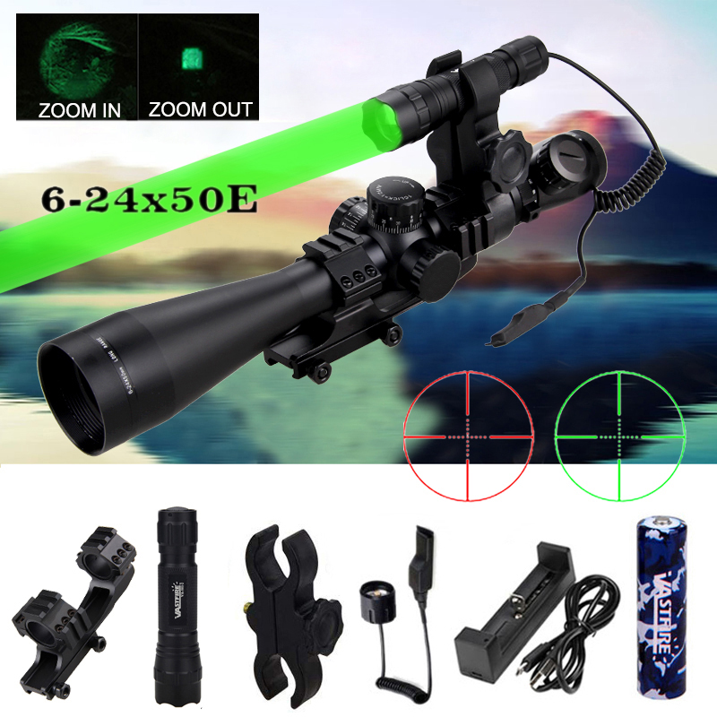6-24x50mm Rifle Scope Duplex Reticle Matte Black+Red And Green Double Lighting+Tactical Hunting Flashlight+Rifle Scope Mount