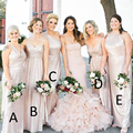 Gorgeous Champagne Sequined Long Bridesmaid Dress Plus Sizes Formal Gowns Long Bridesmaid Gowns Fantasty Women Maxi Gowns Greek