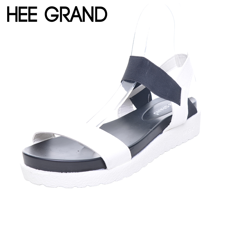 HEE GRAND Women Sandals Platform Flat With Color Patchwork Casual Leopard Black White Shoes Woman Summer Gladiator Shoes XWZ2741 hee grand 2017 platform gladiator sandals beach beaded wedges sandals casual platform shoes woman slip on creepers xwz3466