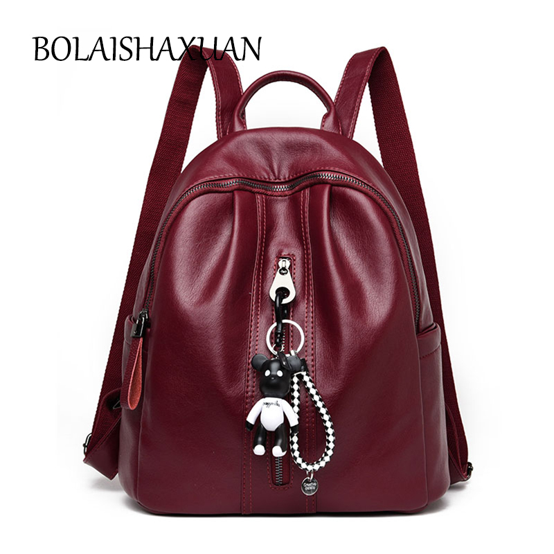 Luxury Spanish Bear Women Backpack Genuine Leather School Bags For Teenager Girls Travel Bagpack sac a dos femme Shoulder Bag luyo 100% soft genuine leather women backpack for girls youth woman ladies laptop bag daily backpack school sac a dos travel