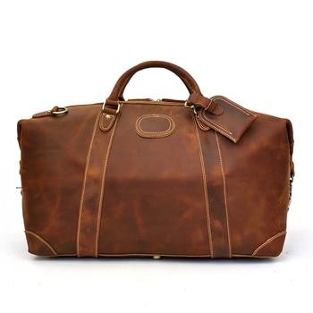 Luufan bolsa de viaje de cuero de alta calidad bolsa de viaje de negocios cuero de Caballo Loco gran capacidad llevar en la mano Lagguage marrón