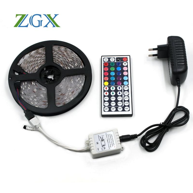 RGB LED Strip light 5050 5M 10M Flexible ip Waterproof neon tira fita lamp diode ribbon tape 44K controller DC 12V adapter set