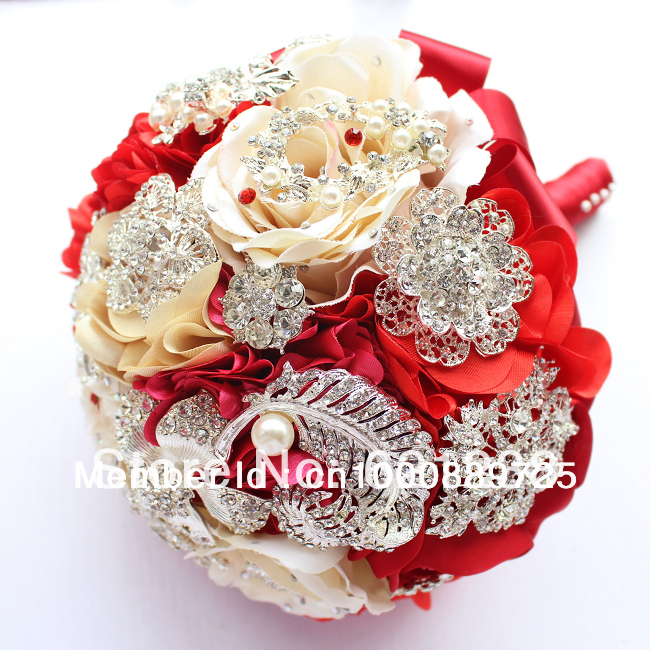 8 inch red wedding bouquet bridal brooch bouquet Including groom corsage