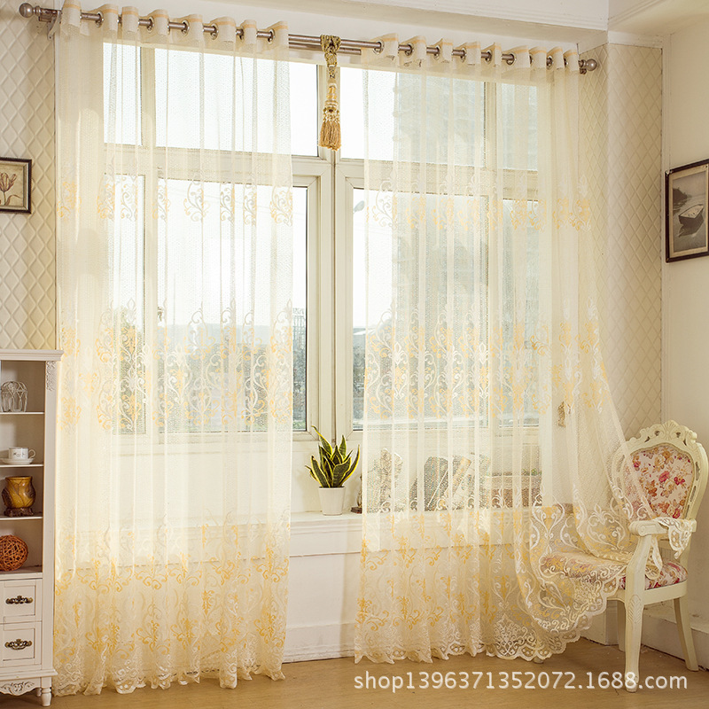 Living room curtain tulle yellowish beautiful curtains for Autrefois home decoration rideaux