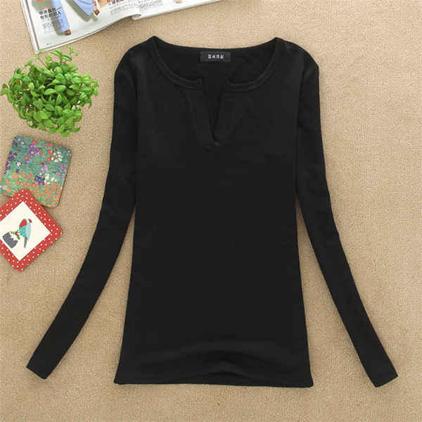 HTB1PDRKFMmTBuNjy1Xbq6yMrVXaa - Women Korean t shirt Basic V Neck Long Sleeve Fitted Plain Top Solid Stretch Shirt