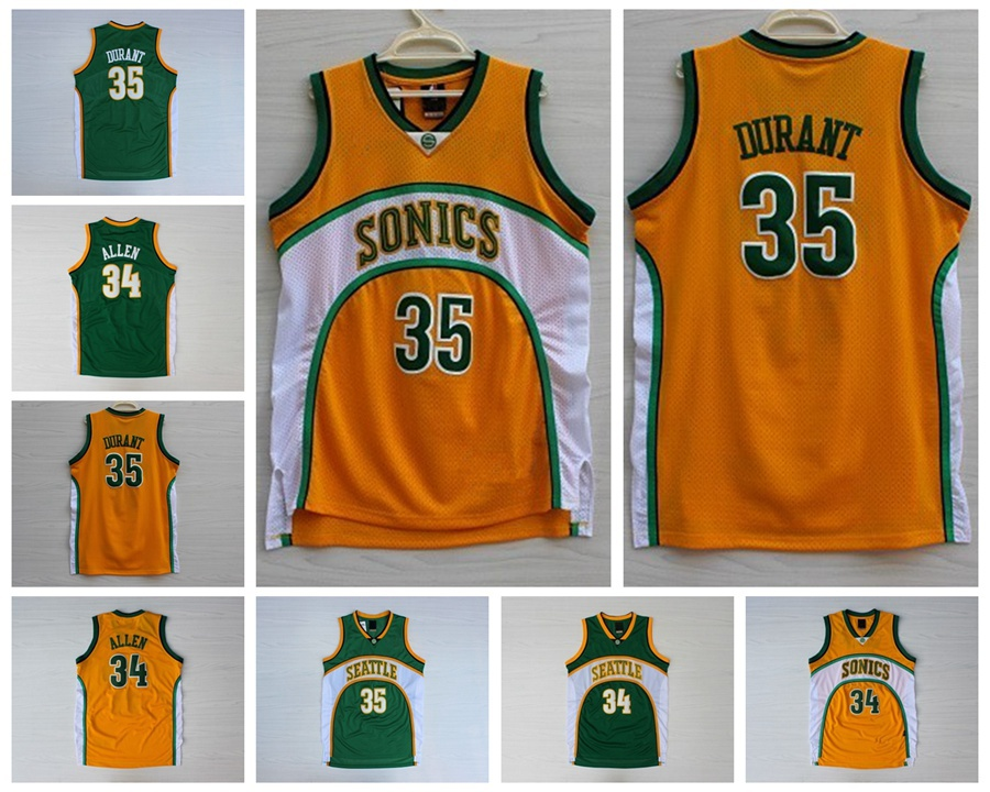 nice shoes 2383d adb12 Oklahoma City Seattle Supersonics #35 Kevin Durant #34 Ray ...