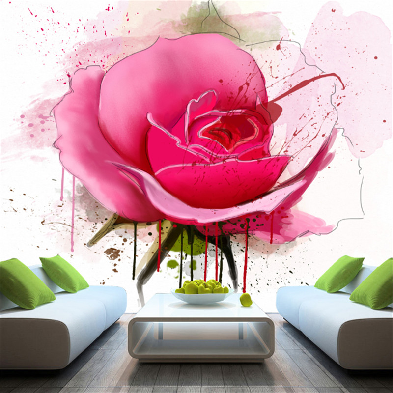 custom modern 3d non-woven wallpaper wall murals 3d wallpaper hand-painted rose mural tv sofa background wall for bedding room  custom mural wallpaper 3d non woven black and white flower hand painted paintings living room sofa tv 3d wall murals wallpaper