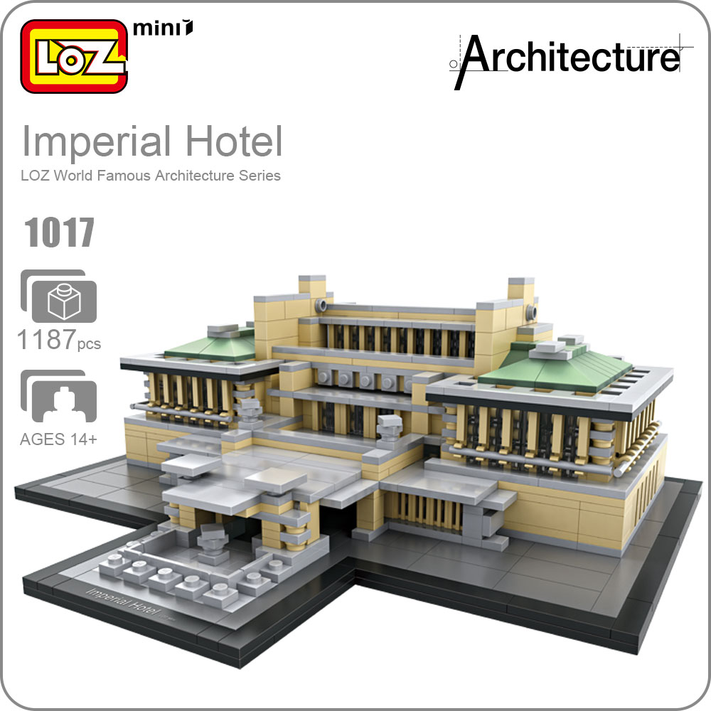 LOZ Architecture Building Mini Blocks Grand Hotel Plastic Assembly Model DIY Toys For Children Imperial Hotel House Toy Kid 1017 mr froger loz diamond block easter island world famous architecture diy plastic building bricks educational toys for children