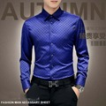 2016 New Fashion Casual Men Shirt Long Sleeve Europe Style Slim Fit Shirt Men High Quality Cotton Floral Shirts Mens Clothes