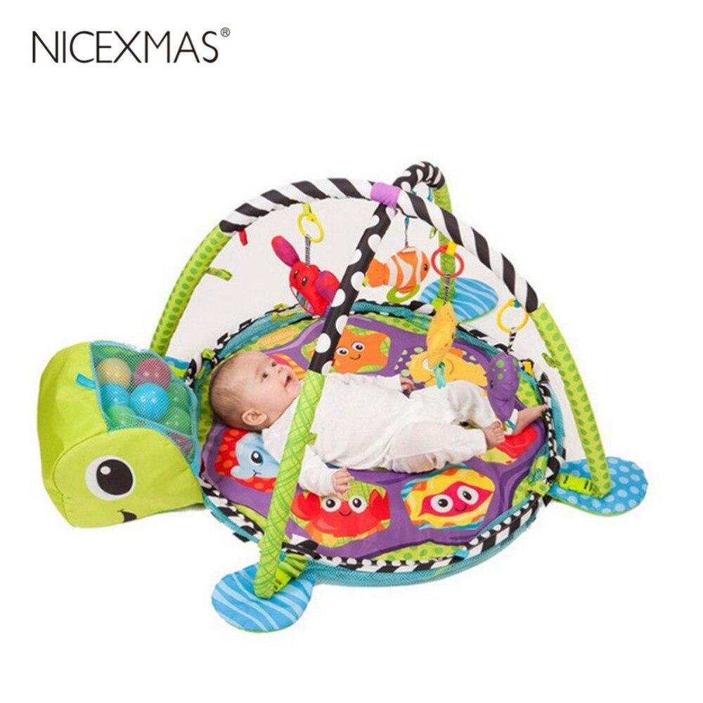 Bébé activité Gym hochet jouets éducatifs développement Gym Playmats Lion Infantil tapis rampant jouer Gym bande dessinée couverture boule fosse