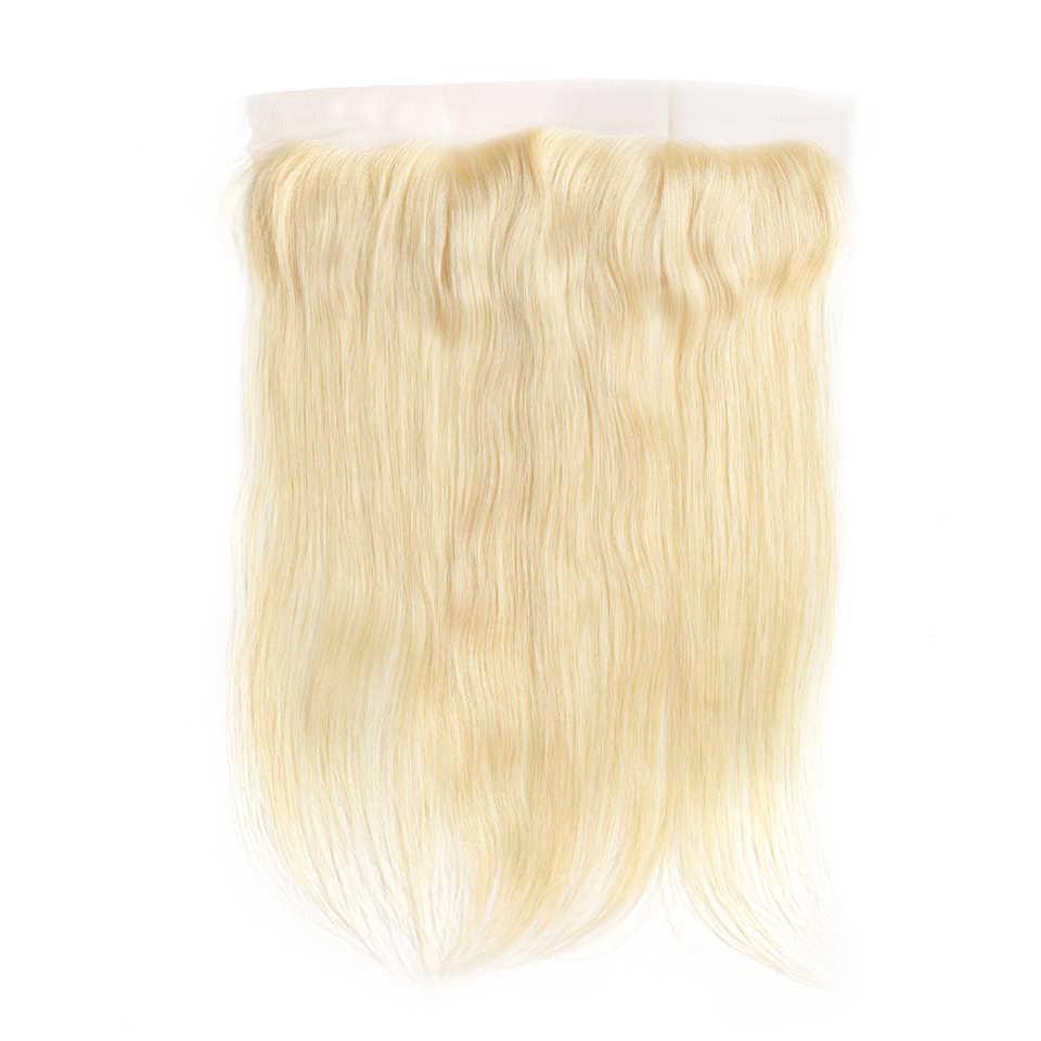 HJ WEAVE uroda 7A #613 włosy blond koronka Frontal zamknięcie brazylijski Prosto remy włosy 13x4 zamknięcia 100% ludzki włos darmowa wysyłka