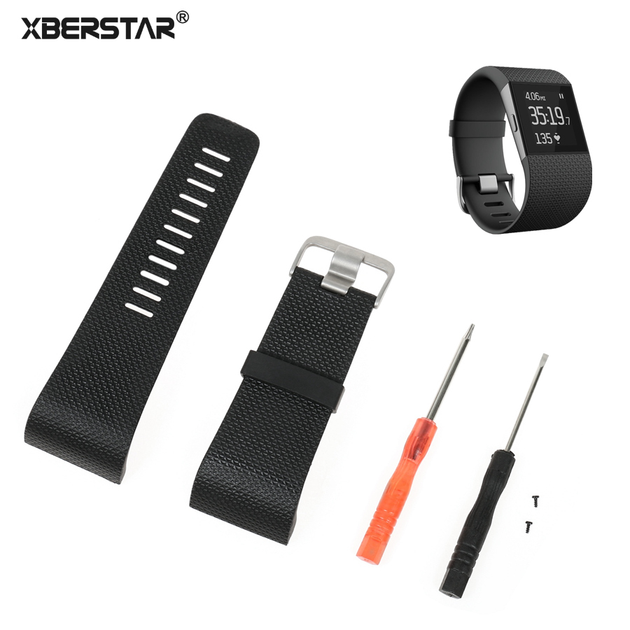 100 pcs/lot for Fitbit Surge Replacement Strap Watchband TPU Watch Band With Buckle Tools DHL Free Shipping цена