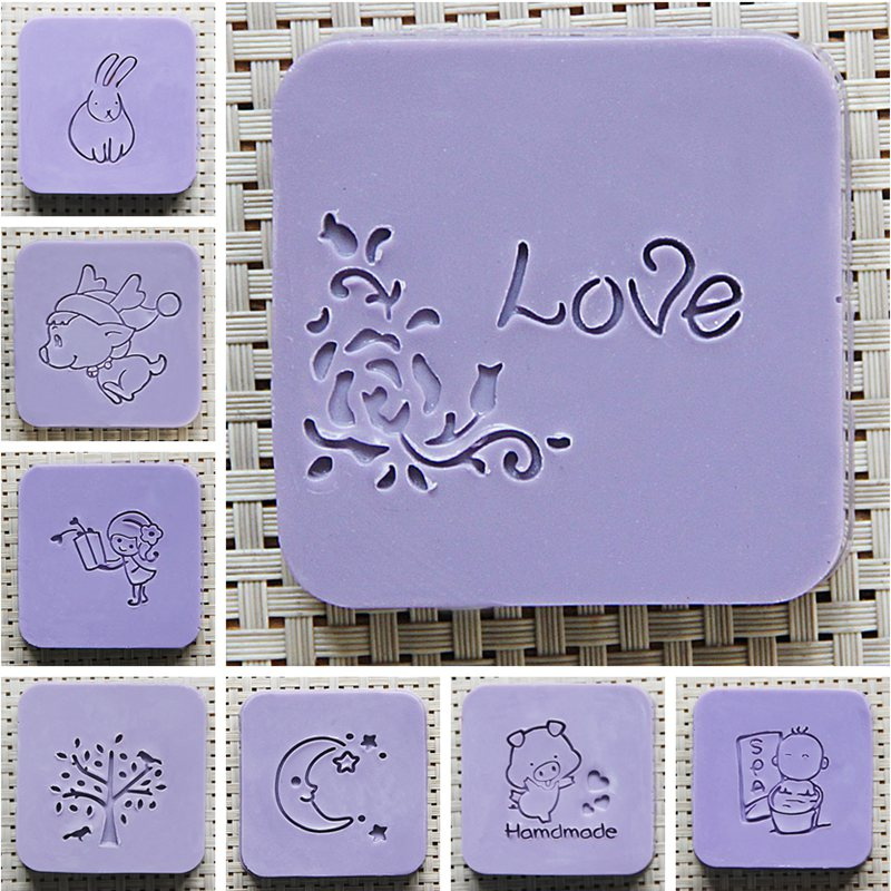 Handmade Soap Stamp Mini DIY Natural Resin Acrylic Crystal Transparent Seal for