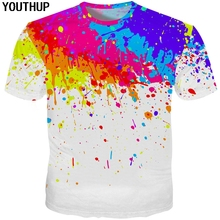 YOUTHUP 2018 Harajuku Men/Women 3D T Shirt Colorful Splatter Paint 3d Print Funny Men T Shirt Wholesale Tees Tops Casual Outwear