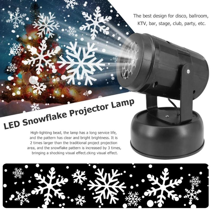 LED Snowflake Fairy Lights Holiday Party Stage Club Light Decor Projector Lamp LED Christmas Snowflake Projector Lamp Spotlight