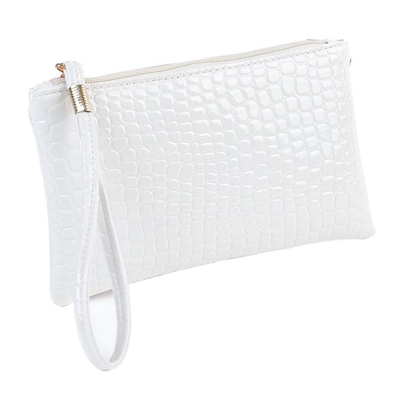 Кошелек для монет, Женский кошелек, пять цветов, Крокодиловая Кожа, клатч, сумка, кошелек для монет, короткие модные стильные сумки для женщин - Цвет: Белый