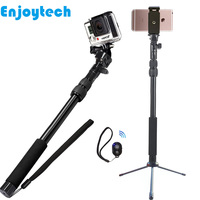3 In 1 Metal Selfie Stick With Mini Tripod+Bluetooth Remote For Iphone Samsung Xiaomi Phones Monopod for Gopro SJcam SLR Cameras
