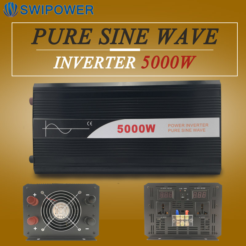 power inverter 12V/24V/48V dc to ac 110V/120V/220v/230V 5000W pure sine wave for home use with low price runco v 63hd
