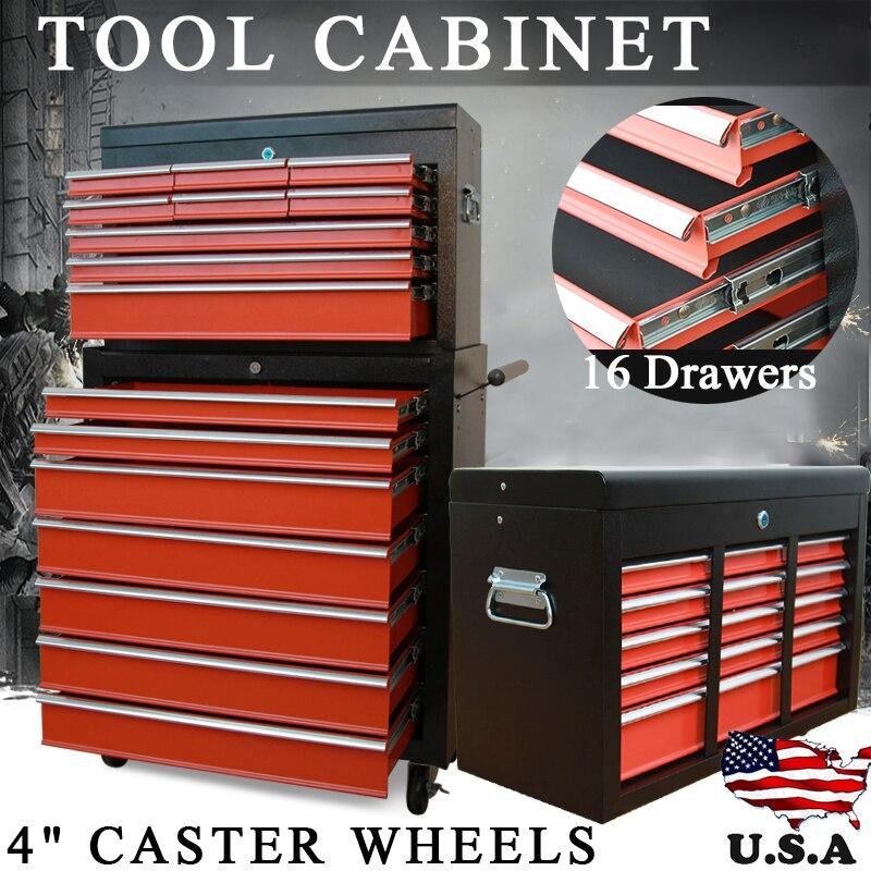 Boîte de rangement pour la maison Shellhard, chariot mécanique, boîte à outils, armoire avec 16 tiroirs, 4 roulettes, boîte à outils, partie A + partie B