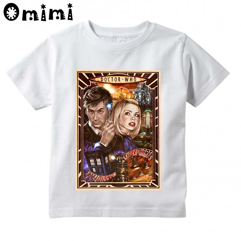Boys/Girls Doctor Who Dr. Who Daleks Exterminate To Victory Sitcoms Printed T Shirt Kids Tops Childrens White T-Shirt,HKP4115