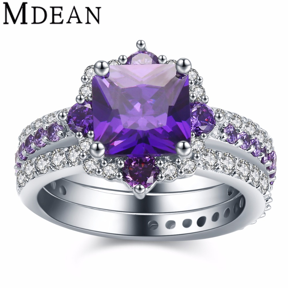MDEAN 3 rings white gold Color rings for women Purple