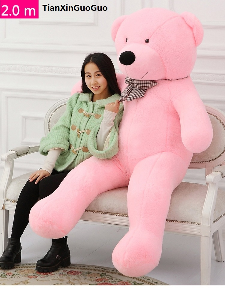 pink cartoon Teddy bear plush toy stuffed bear huge 200cm soft doll fillings toy hugging pillow Christmas gift b2807 stuffed animal largest 200cm light brown teddy bear plush toy soft doll throw pillow gift w1676