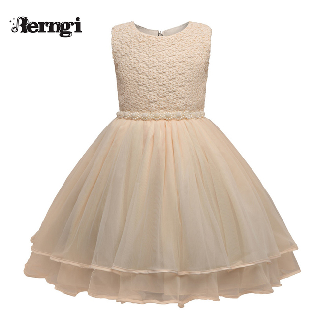b43e29301a09a Champagne color Kid's Party Dress For Girl Wedding Birthday Children's Girl  Clothing Lace Beading Sashes Sleeveless