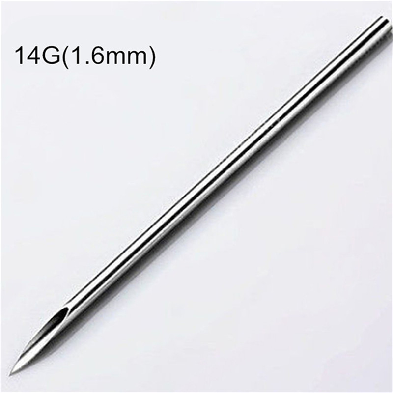 10pcs Surgical Steel Tatto Piercing Needles Medical Tattoo Needles For Navel Nose/Lip/Ear Piercing 14g (1.6mm) 1