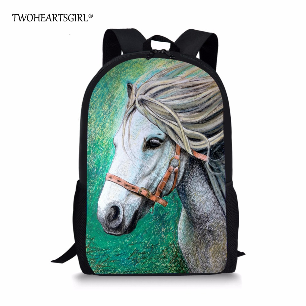 TWOHEARTSGIRL Cool Crazy Horse Backpack for Boys Girls Designer Primary Student Kids Rucksack Casual Child Baby Bagpack Mochila