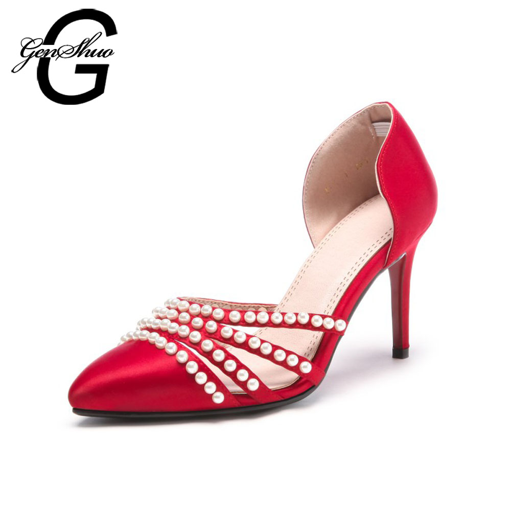 GENSHUO Sexy chaussures de mariage femmes pompes talons hauts chaussures mode perle bout pointu chaîne perle talon aiguille femmes talons hauts pompes