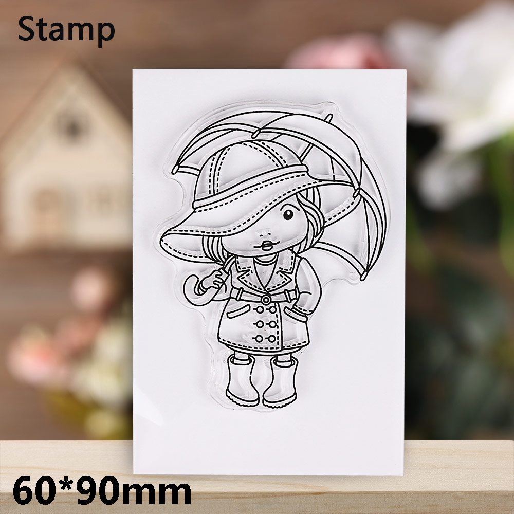 Lovely Girl Clear Transparent Stamps/& Metal Cutting Dies Stencils Cards Decors