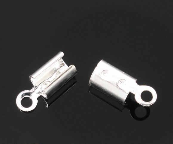 DoreenBeads 30 Collar chapado en plata/engaste del cordón punta tapas cuentas con lazo 8x3mm (ajuste de 2-2,5mm cordón)