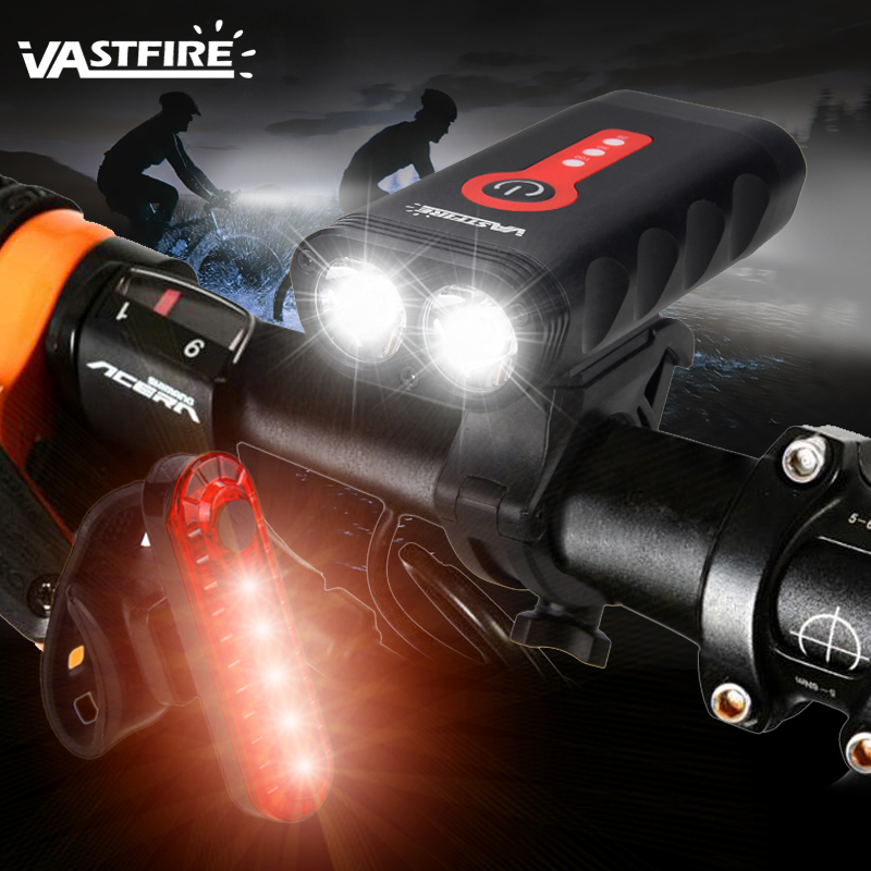 Upgrade USB Rechargeable Bicycle Light Waterproof L2 LED Front Bike Headlight 5 Modes Safety MTB Cycling Torch Built-in Battery