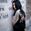 spring autumn new women European and American both sides flowers embroidered stand collar black pink bomber jacket