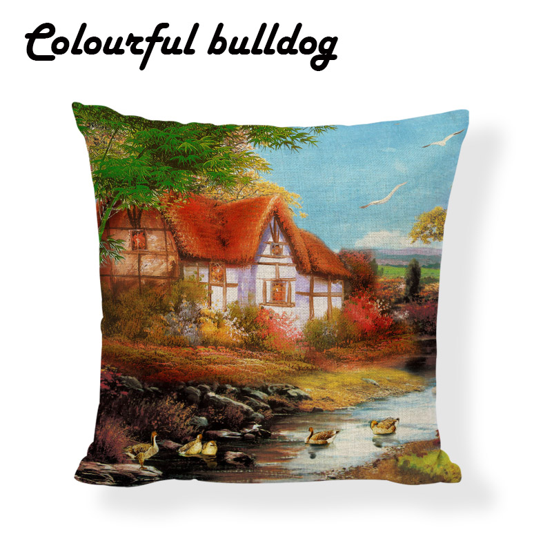 Creative Country Style Cushion Cover River Brick House Water Ducks Egrets Pillowcase Chimney Patio 43cm Decor Home Office Couch