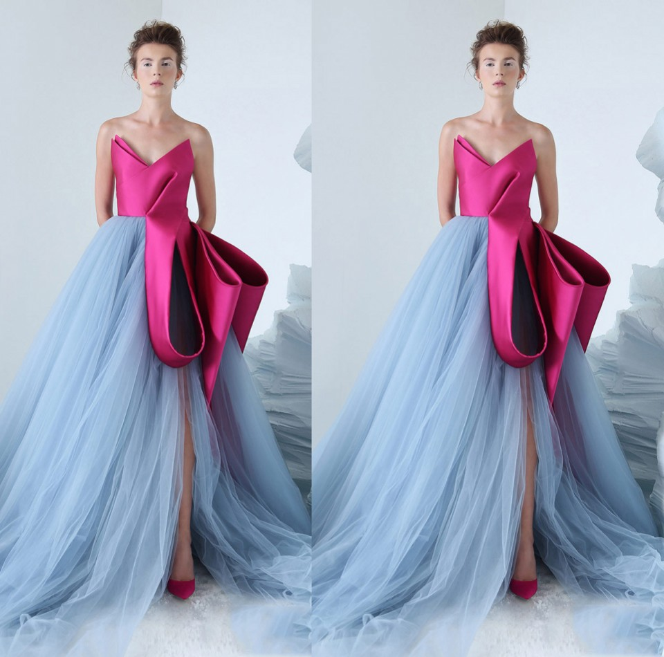 Fashion 2019 Long Evening Gowns Ruffles Sexy High Side Split Prom Gowns Contrast Color Fuchsia Blue