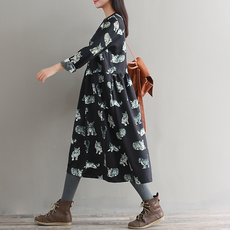 d0c5425c7a5 2019 2018 Spring Autumn Loose Preppy Style Dress With Cat Prints ...