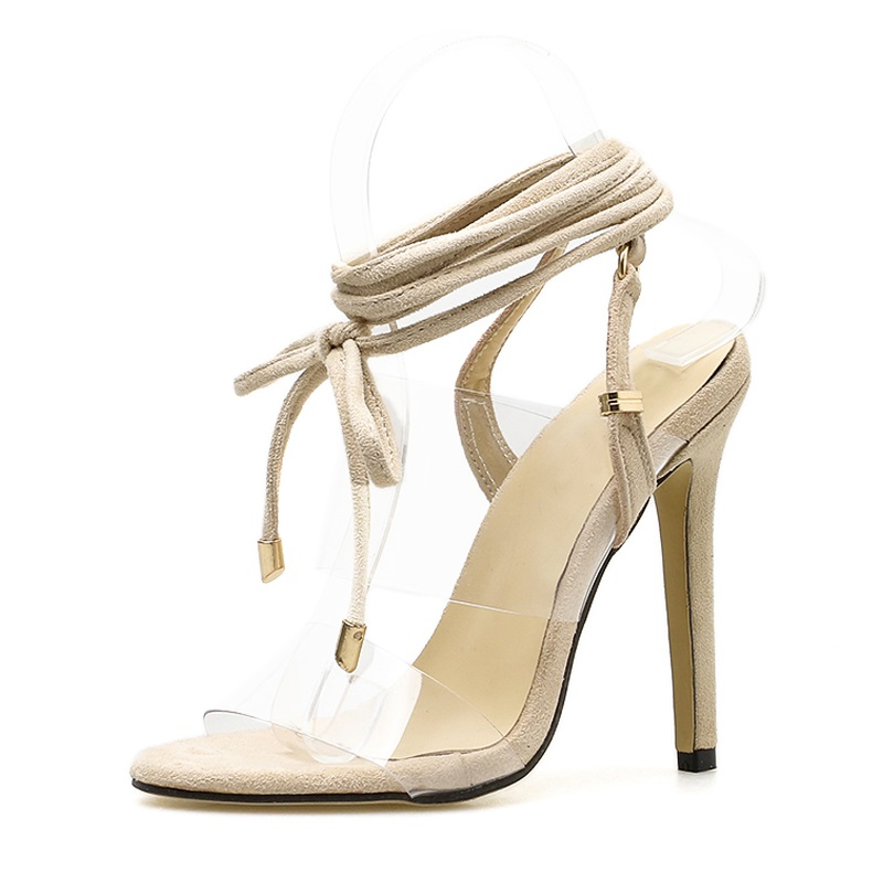 TINGHON Summer High Heel PVC Transparent Peep Toe Lace Up Sandals Sexy  Dress Heels for Women Ladies Stiletto Heel Shoes -in High Heels from Shoes  on ... 5b9ad7954a71