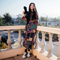 Spring and autumn women's long trench plate buttons plaid fluid long-sleeve thin outerwear Linen Pattern