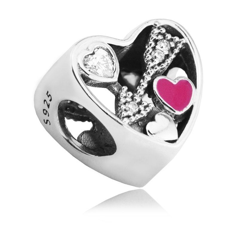 Fits for Pandora Bracelets Struck by Love Charms With Cerise Enamel Authentic 925 Sterling Silver Beads Jewelry Free Shipping